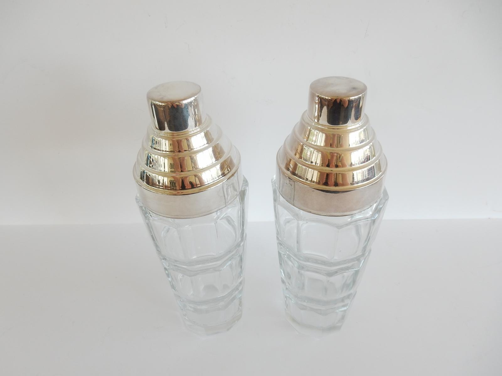 Photo of Pair Art Deco Crystal Glass Cocktail Shakers
