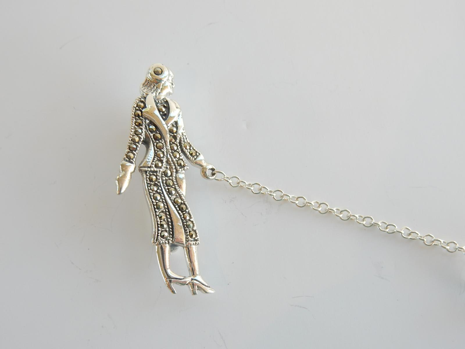 Photo of Silver & Marcasite Lady Walking Dog Brooch