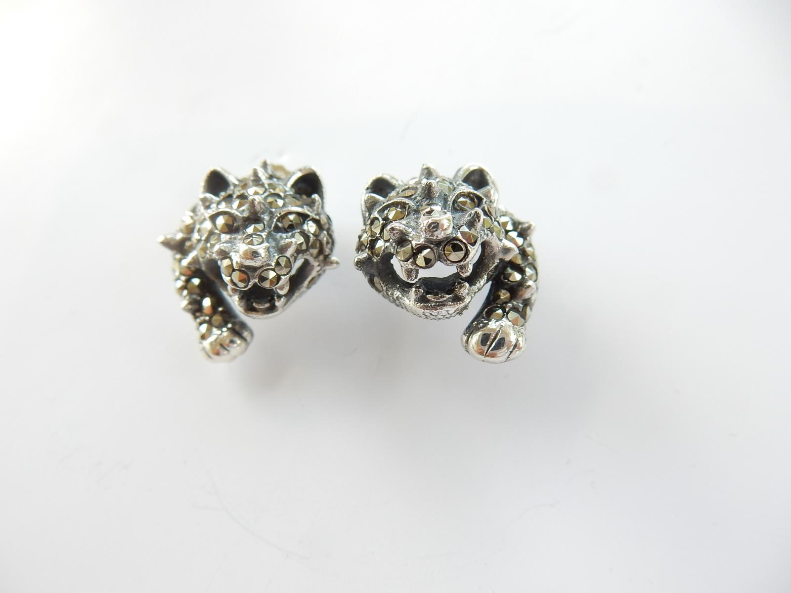Photo of Silver & Marcasite Wild Cat Earrings
