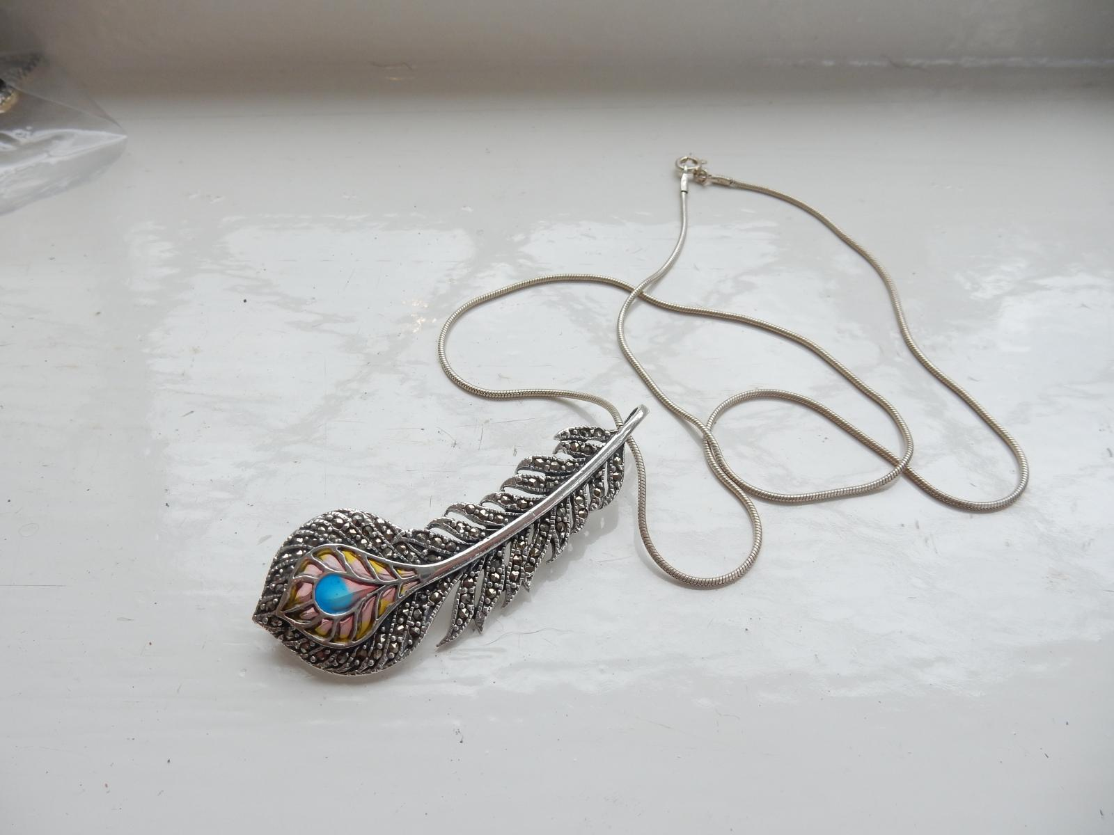 Photo of Art Nouveau Plique Du Jour Feather Necklace