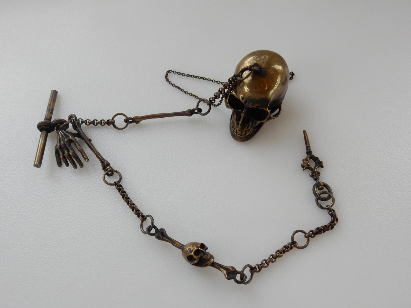 Photo of Brass Gothic Skull Snuff Albert Chain