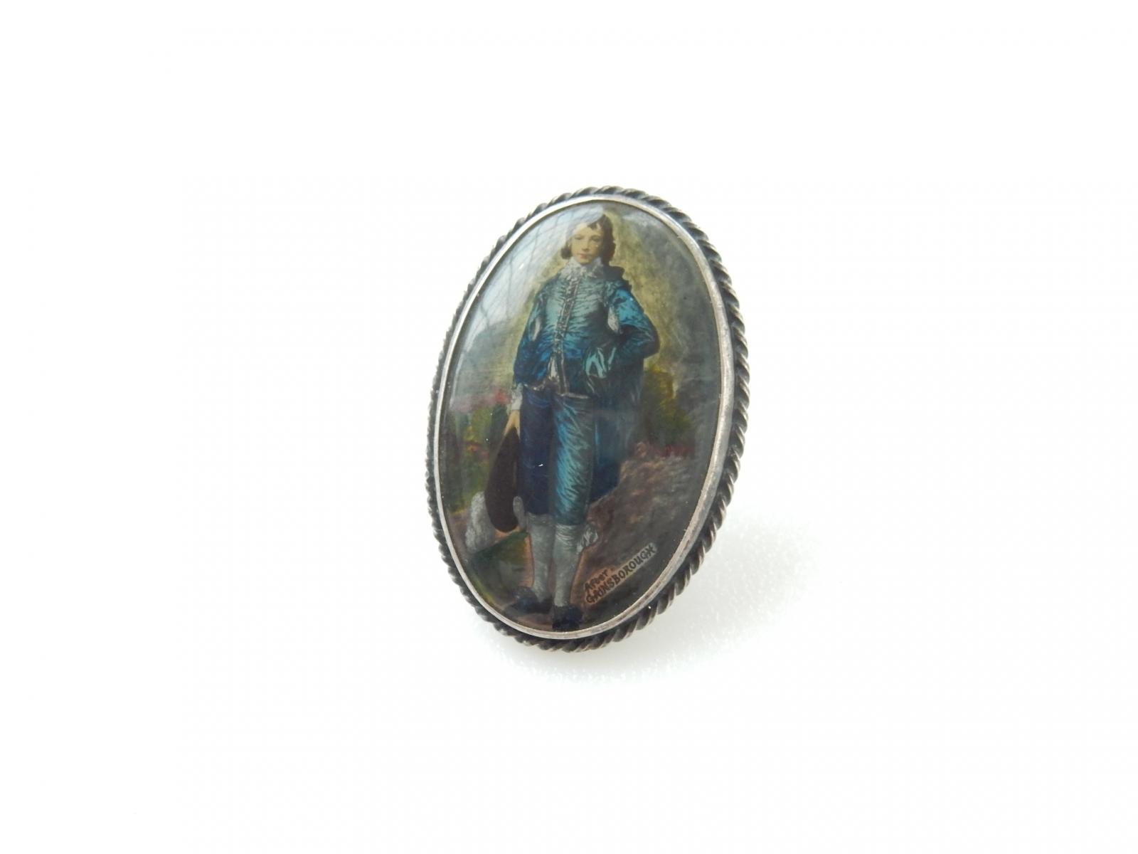 Photo of Early Silver Hand Painted Portrait Gainsborough Brooch