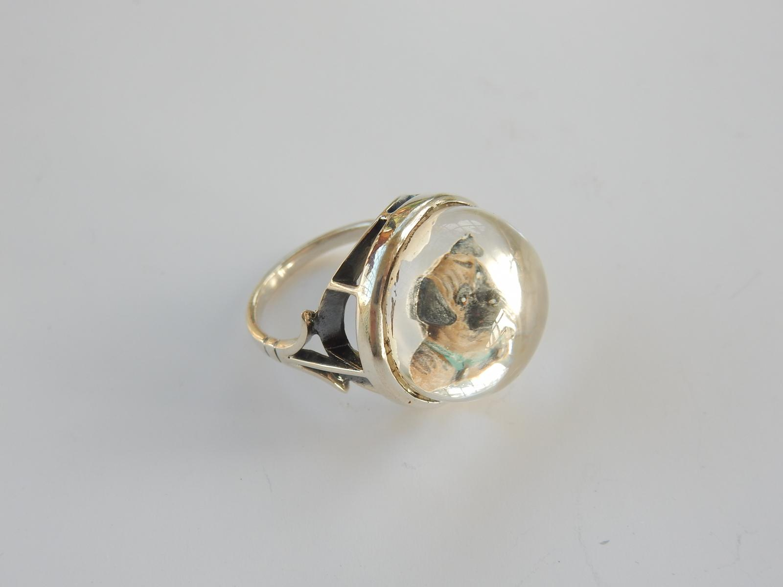 Photo of Reverse Carved Essex Crystal Pug Dog Ring
