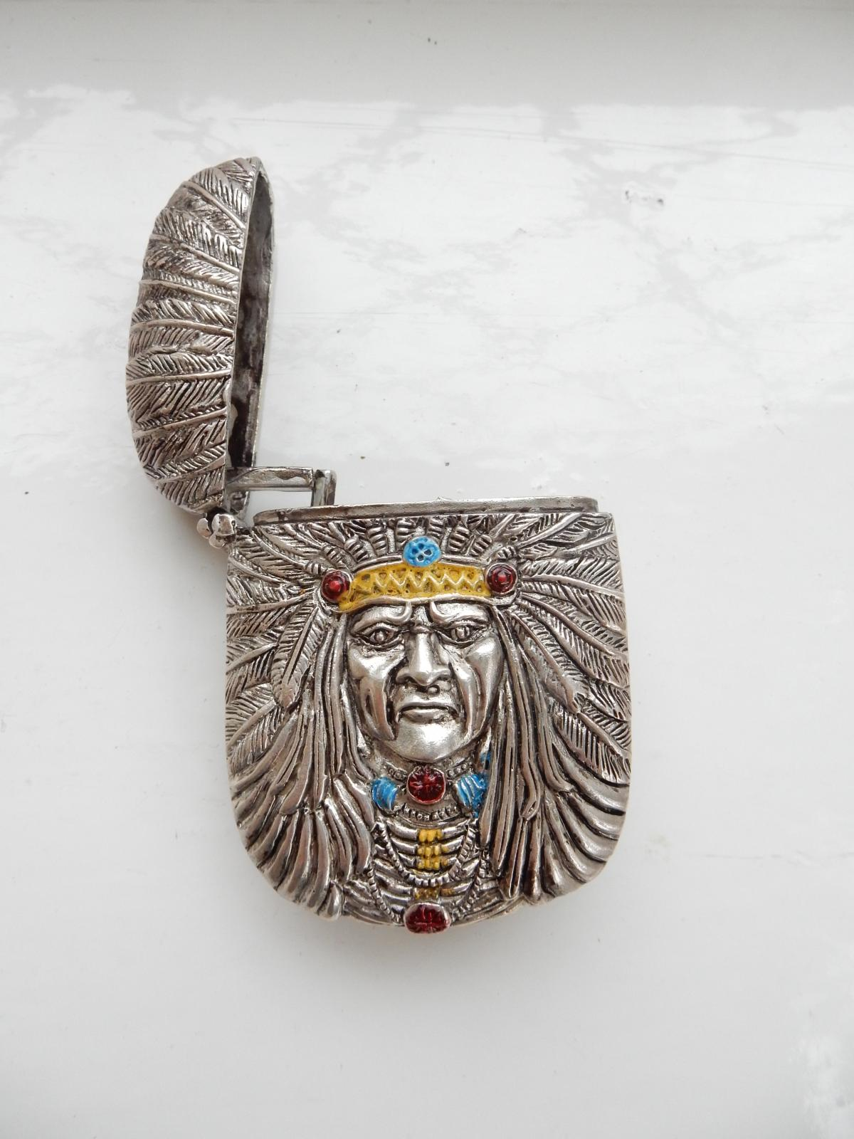 Photo of Silver-Plate & Hand Painted Enamel Red Indian Vesta