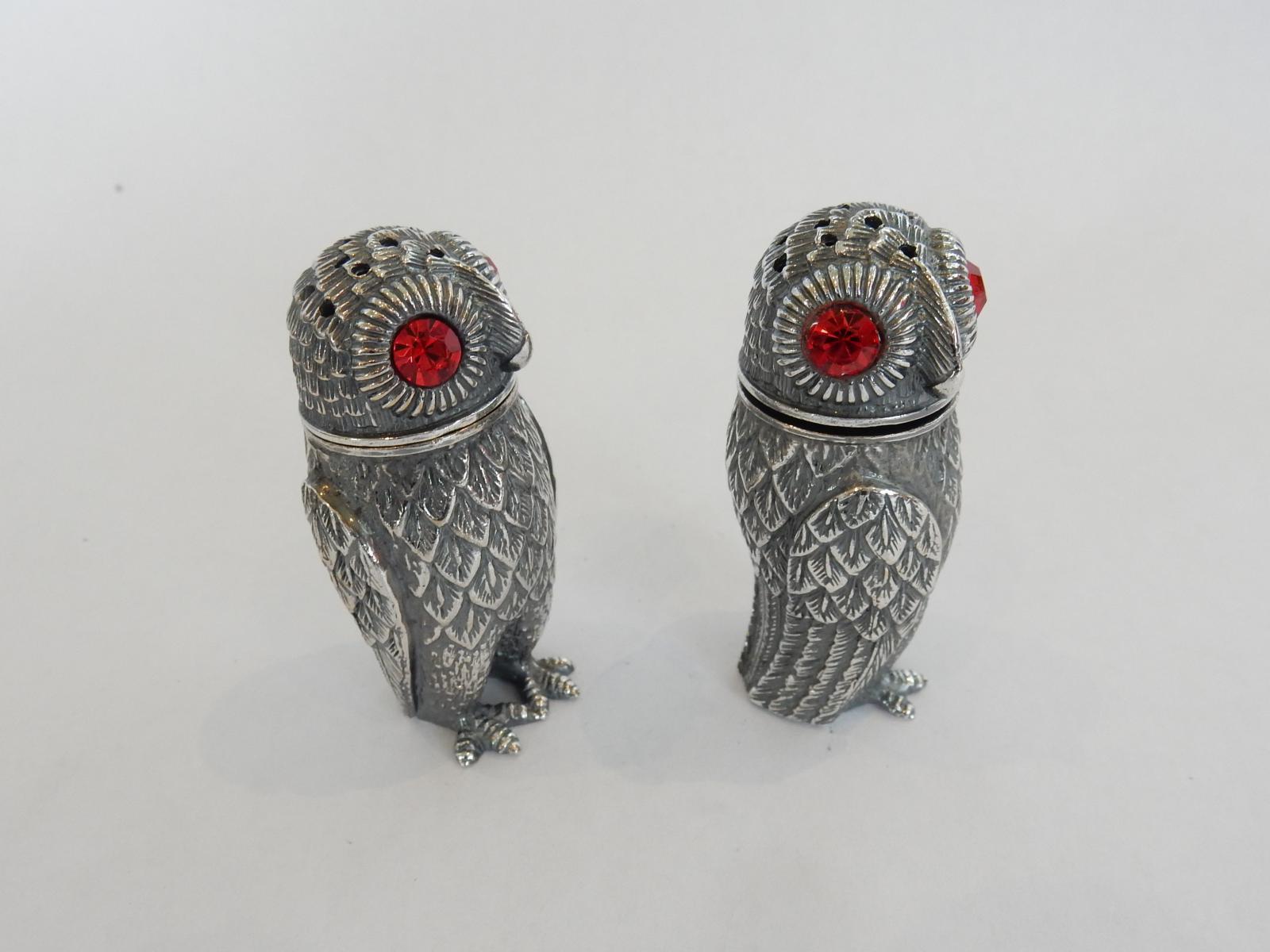 Photo of Pair Silver Owl Salt & Pepper Shakers