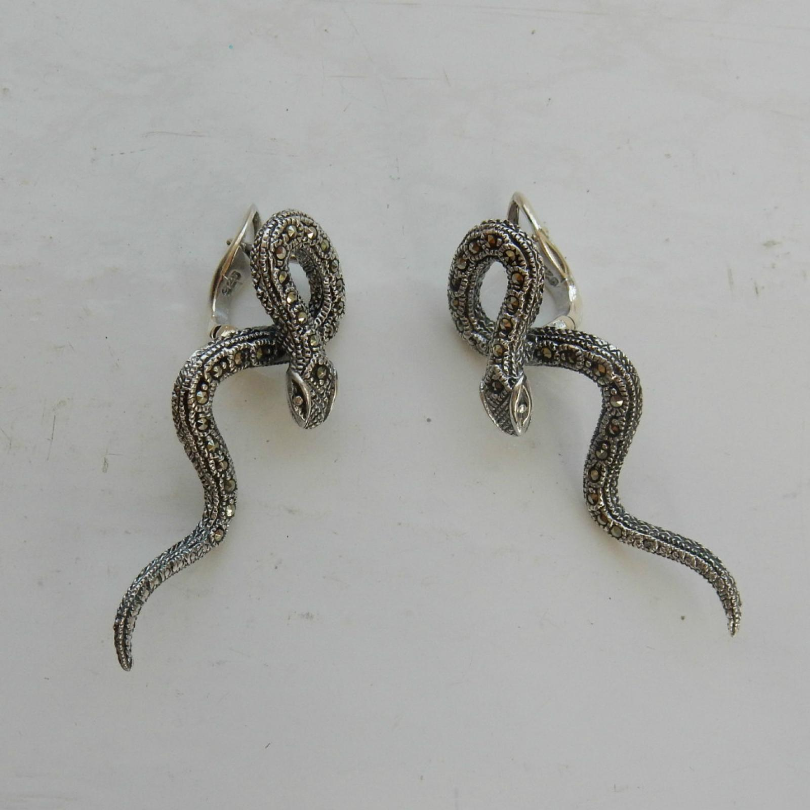 Photo of Marcasite Serpent Twisted Snake Earrings
