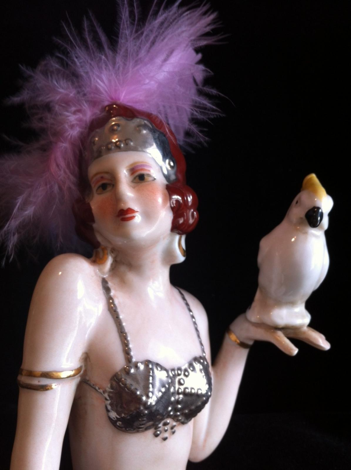Photo of Art Deco Porcelain Showgirl with Parrot
