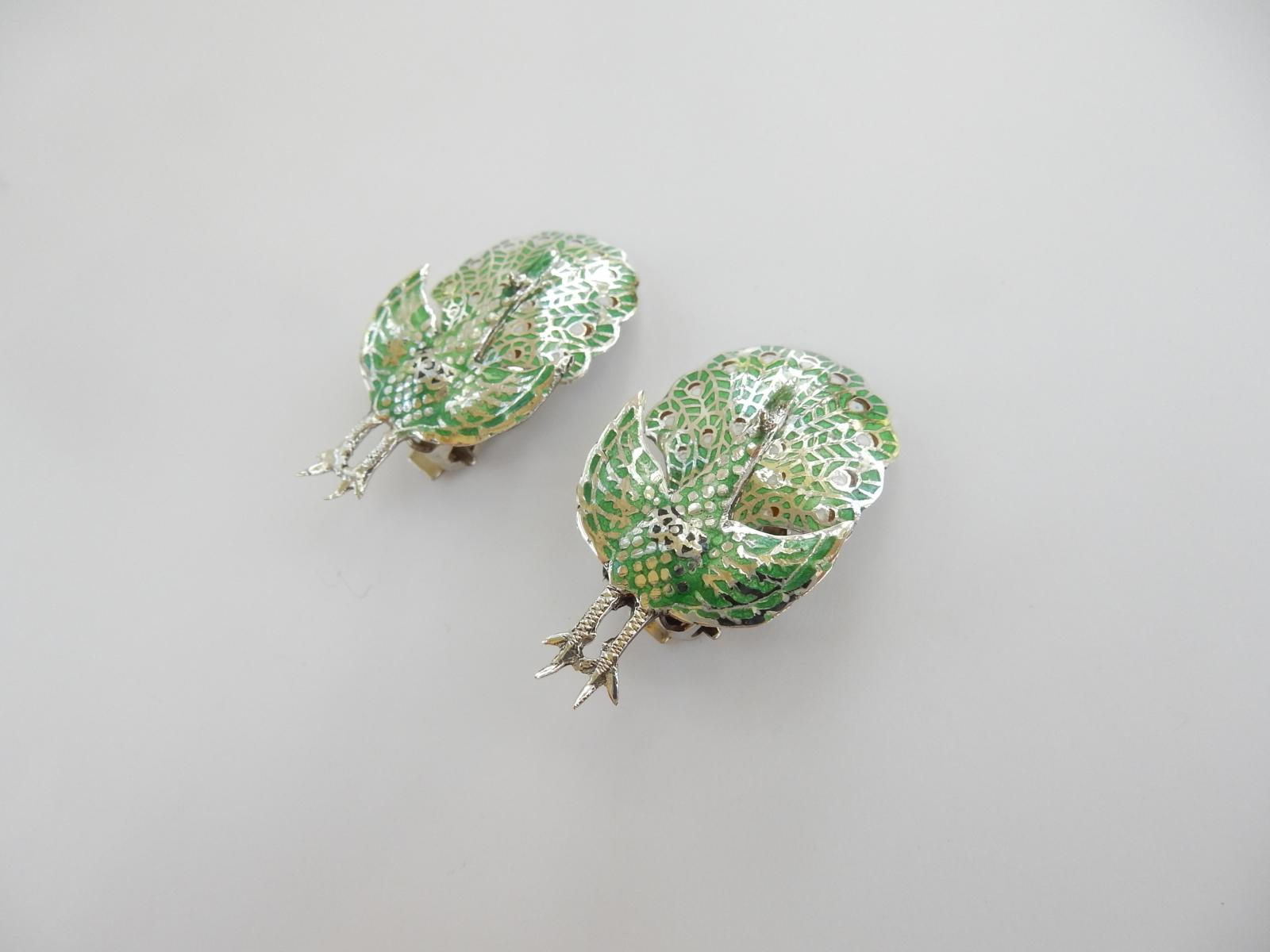 Photo of Enamelled Silver Peacock Clip on Earrings