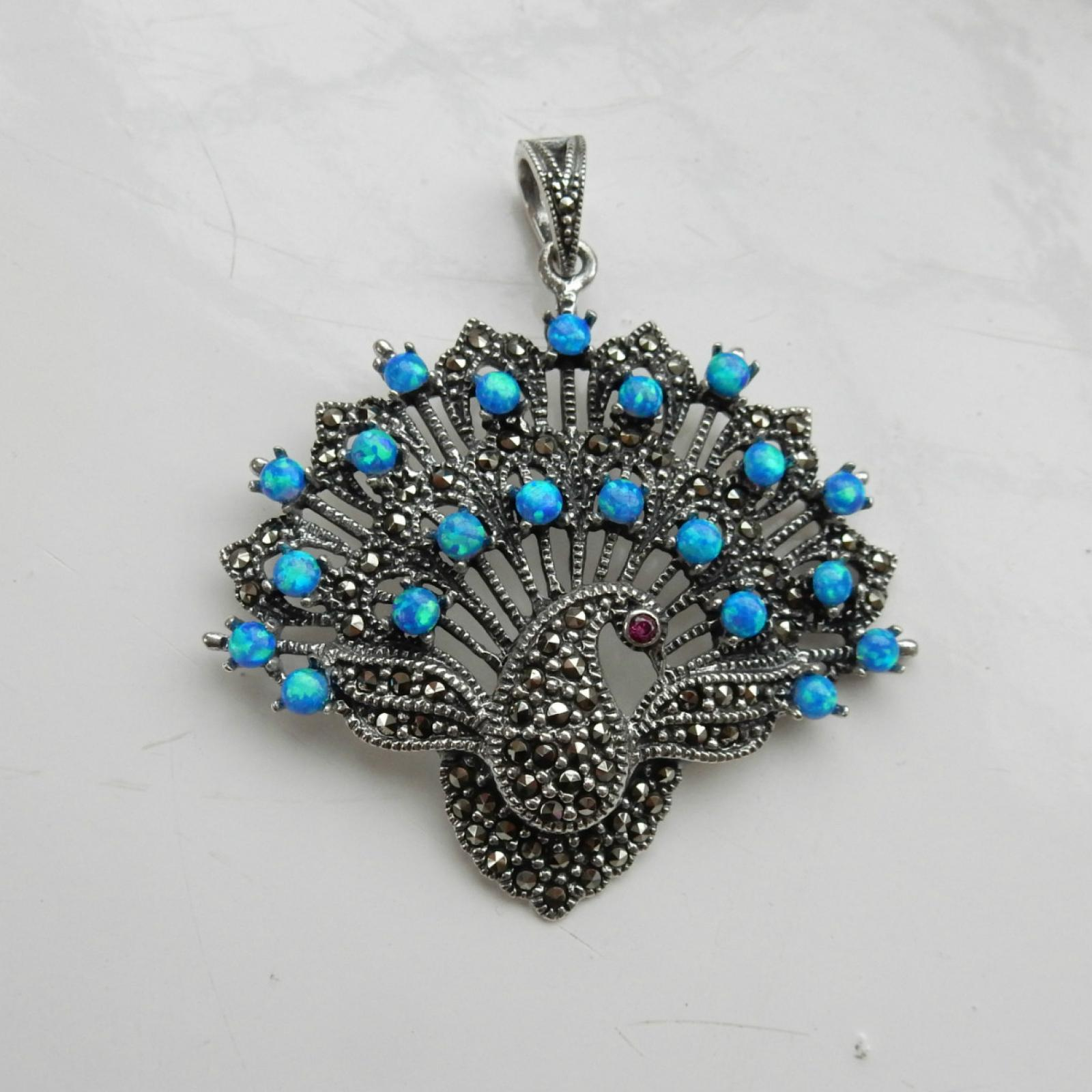 Photo of Silver Marcasite Peacock Fan Pendant