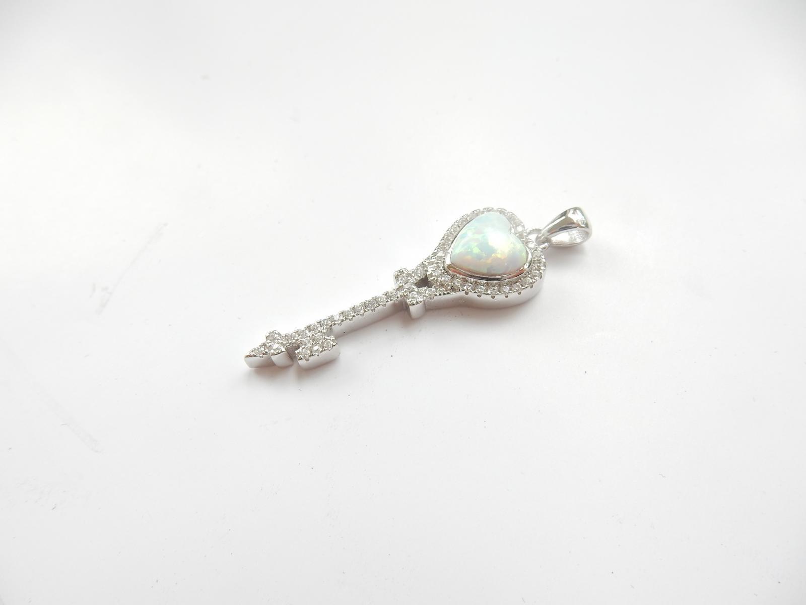 Photo of Silver Opal & Cubic Zirconia Key Pendant
