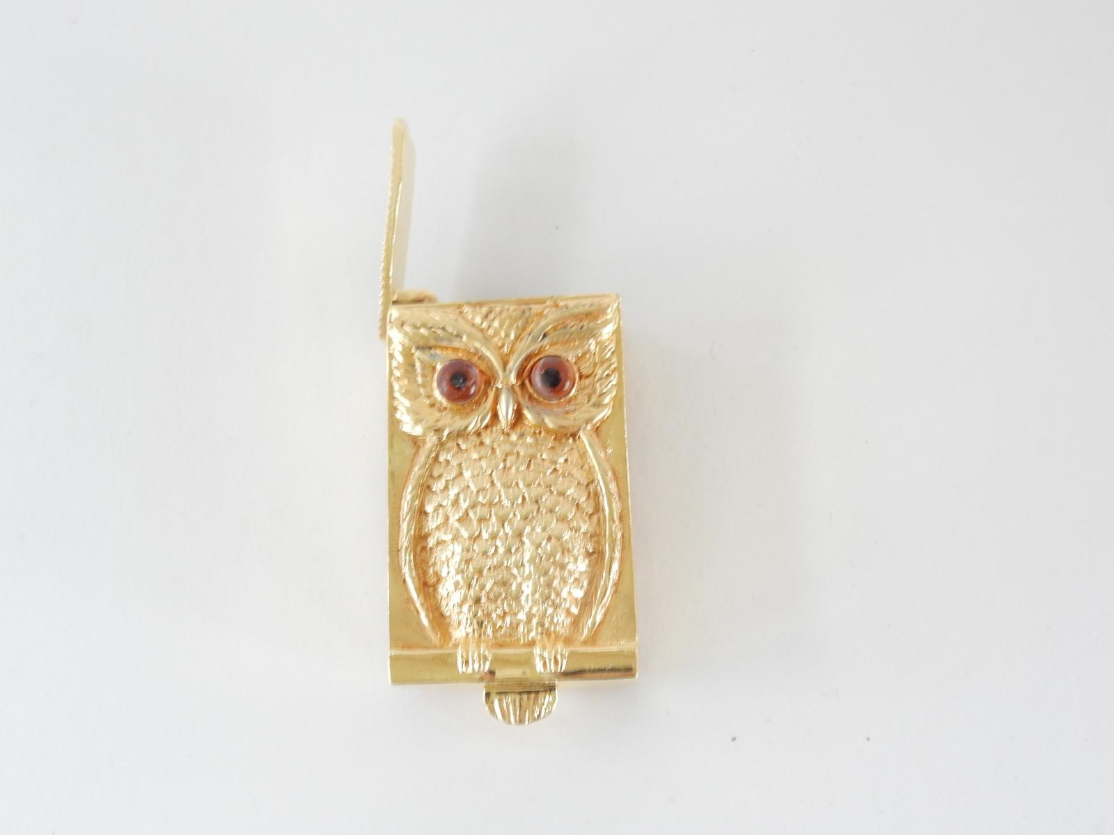 Photo of Solid Silver Gold Plated Owl Vesta