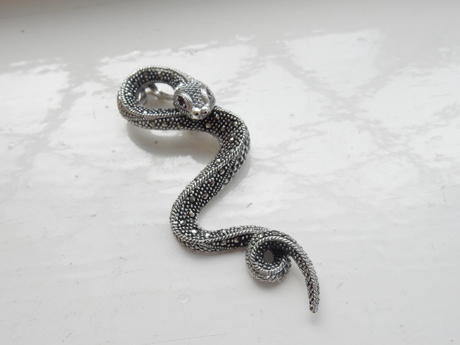 Photo of Sterling Silver & Garnet Serpent Pendant