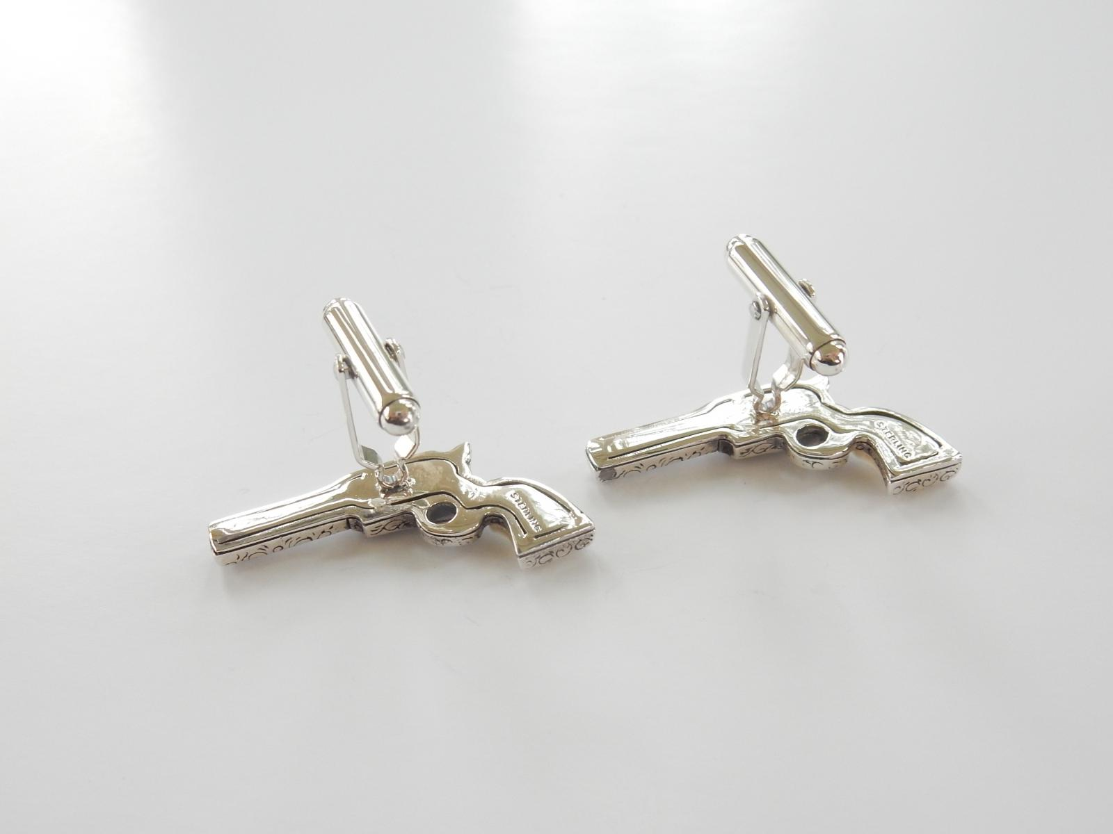 Photo of Solid Silver & Mother of Pearl Mens Pistol Cufflinks