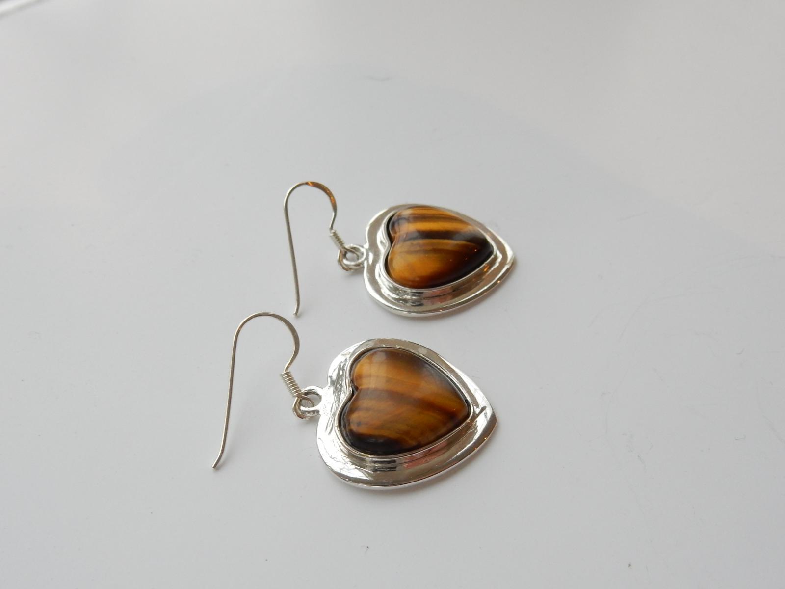 Photo of Solid Silver Tigers Eye Heart Earrings