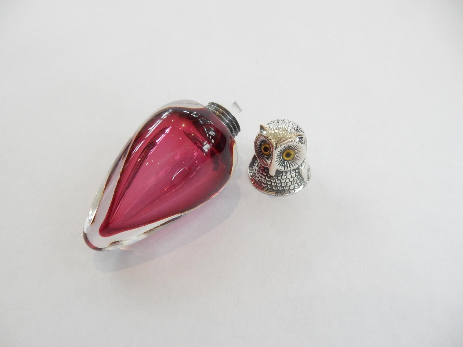 Photo of Sterling Silver & Cranberry Glass Owl Scent Bottle
