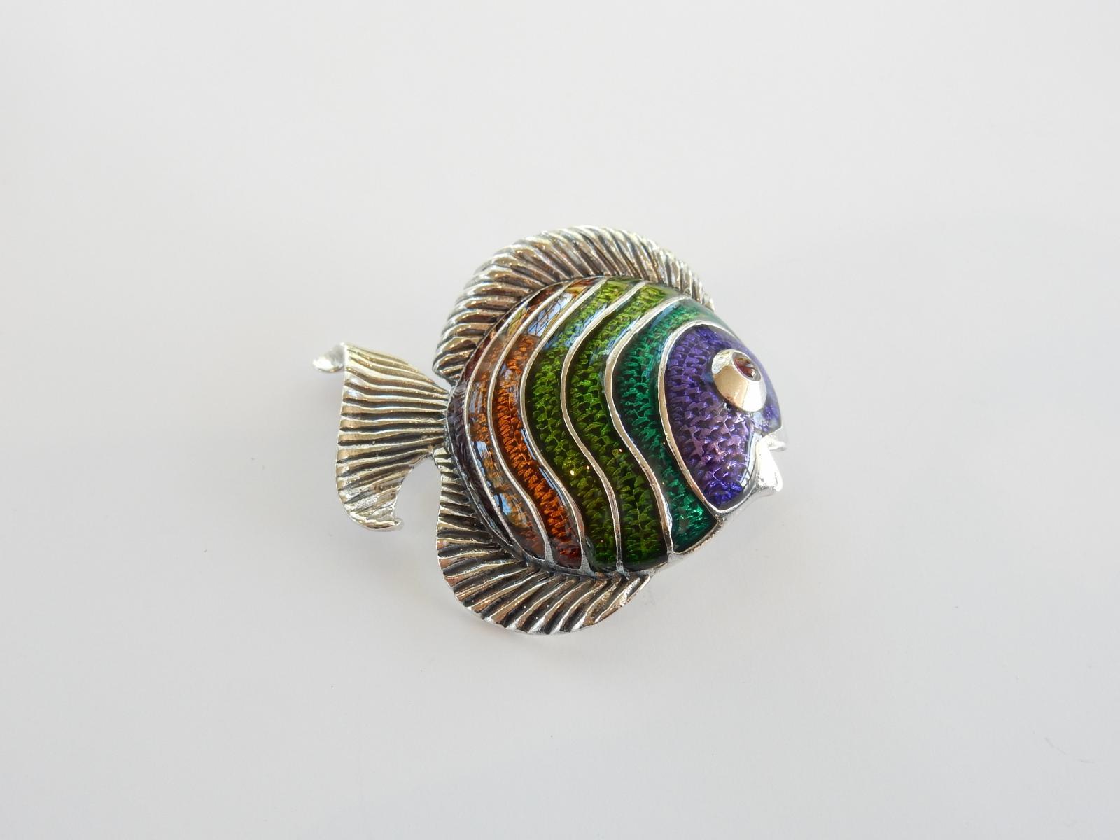 Photo of Silver & Enamel Tropical Fish Brooch