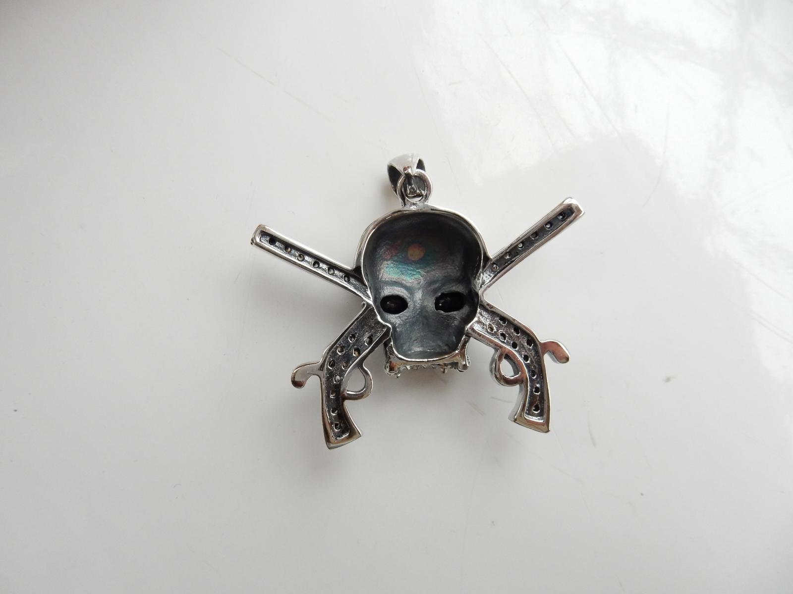Photo of Large Silver & Garnet Skull Pendant