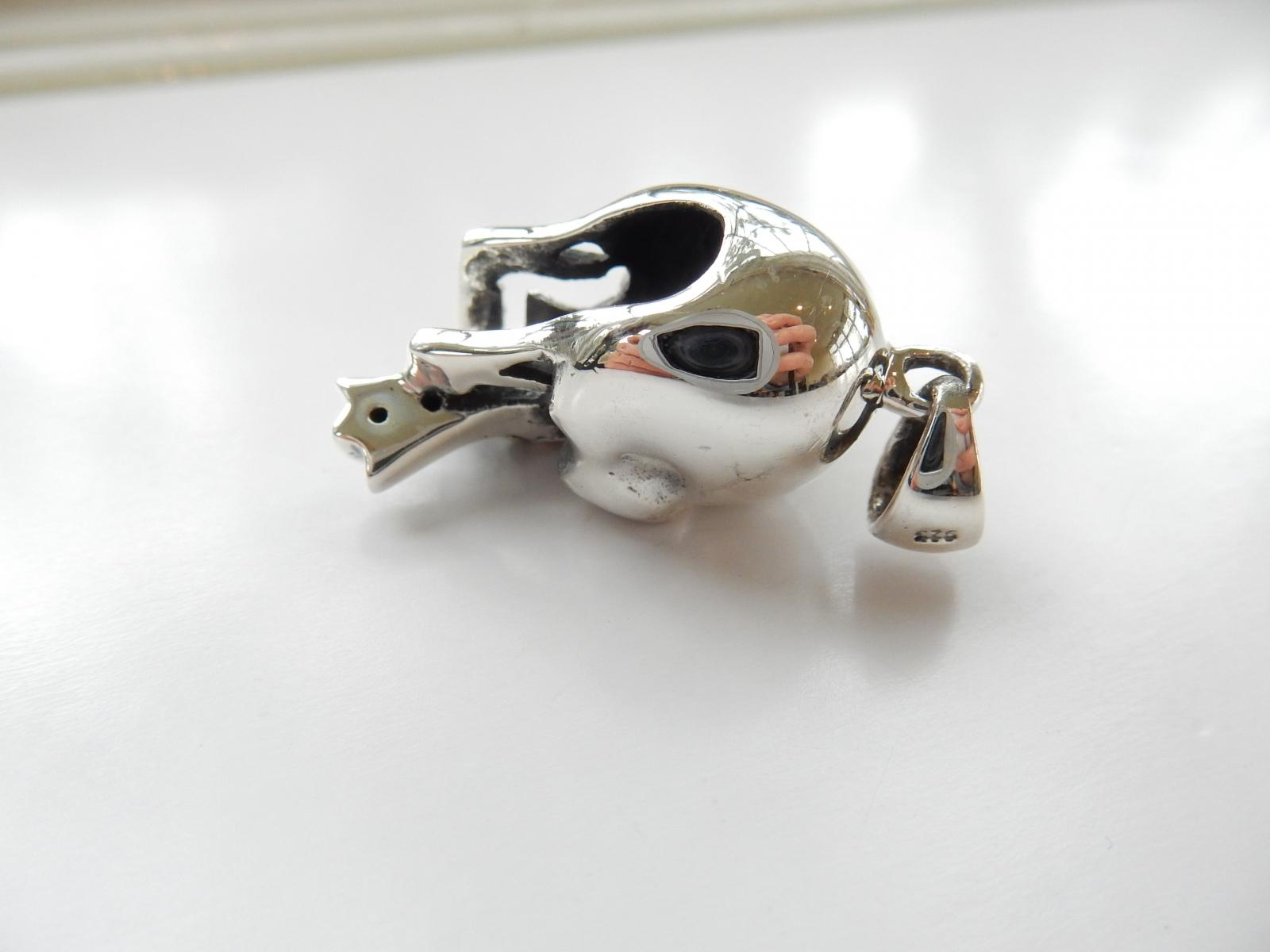 Photo of Sterling Silver & Garnet Skull Pendant