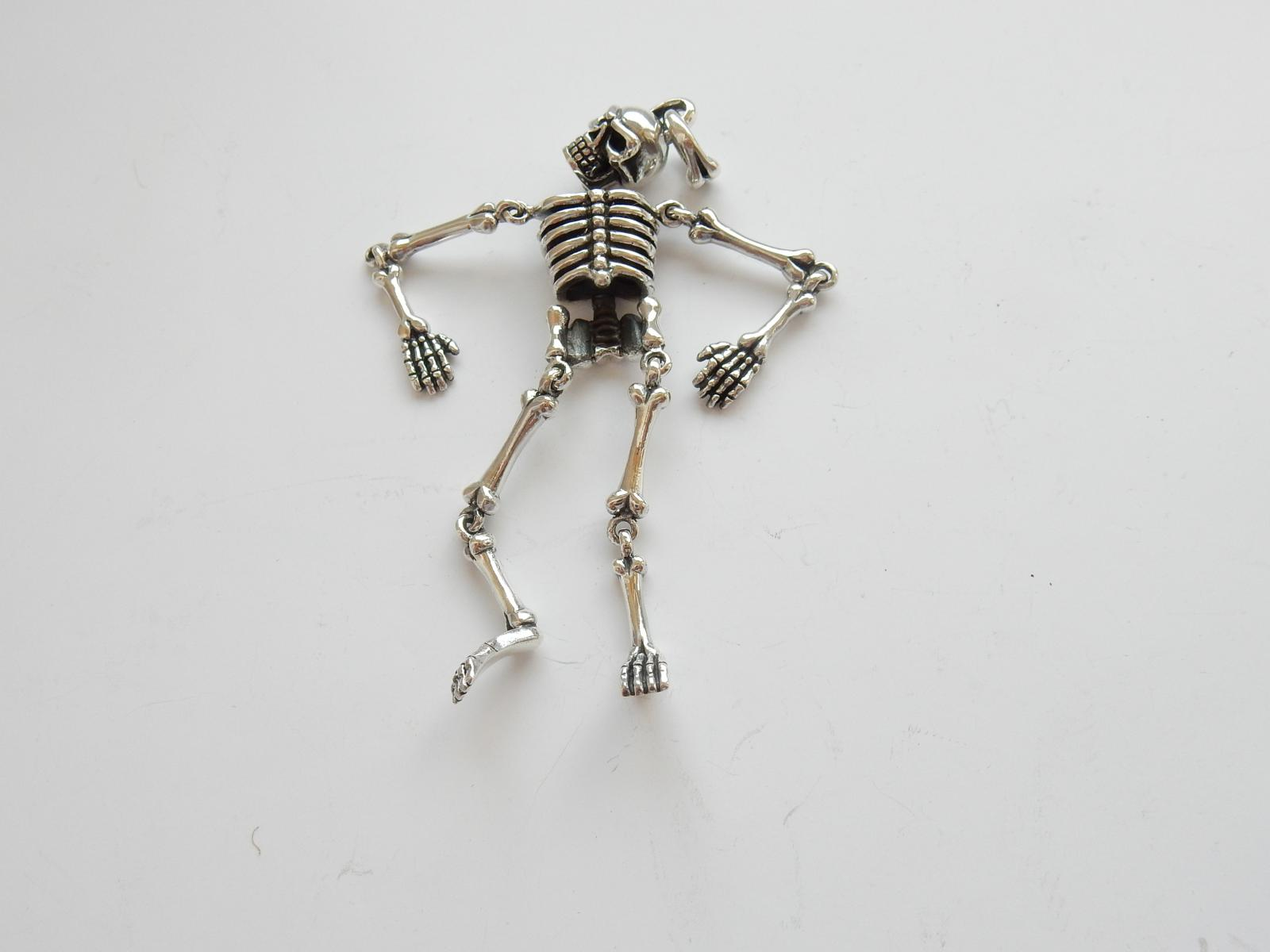 Photo of Solid Silver Articulated Skeleton Pendant