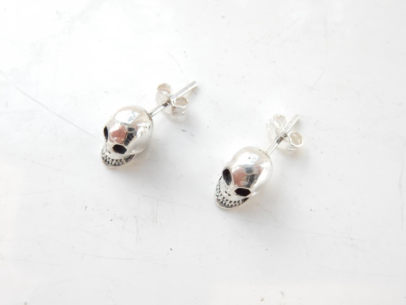 Photo of Sterling Silver Gothic Skull Stud Earrings