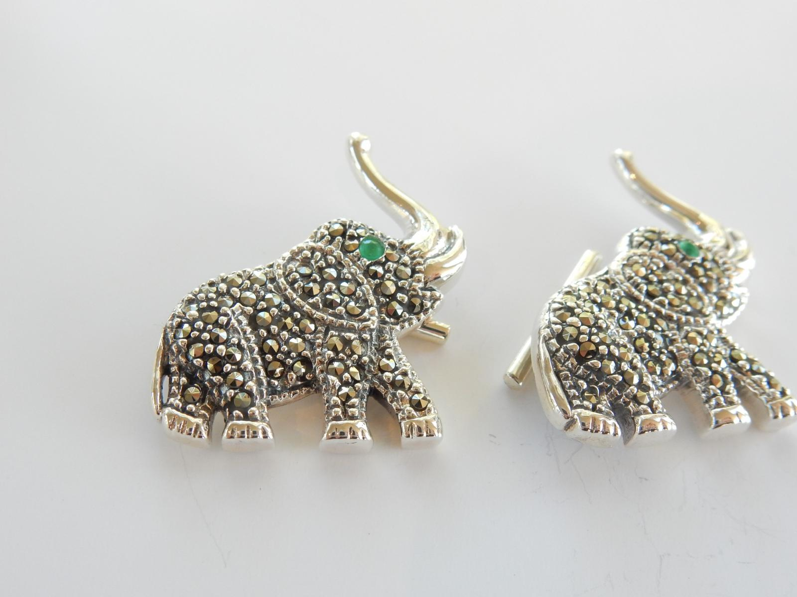 Photo of Sterling Silver Marcasite Elephant Cufflinks