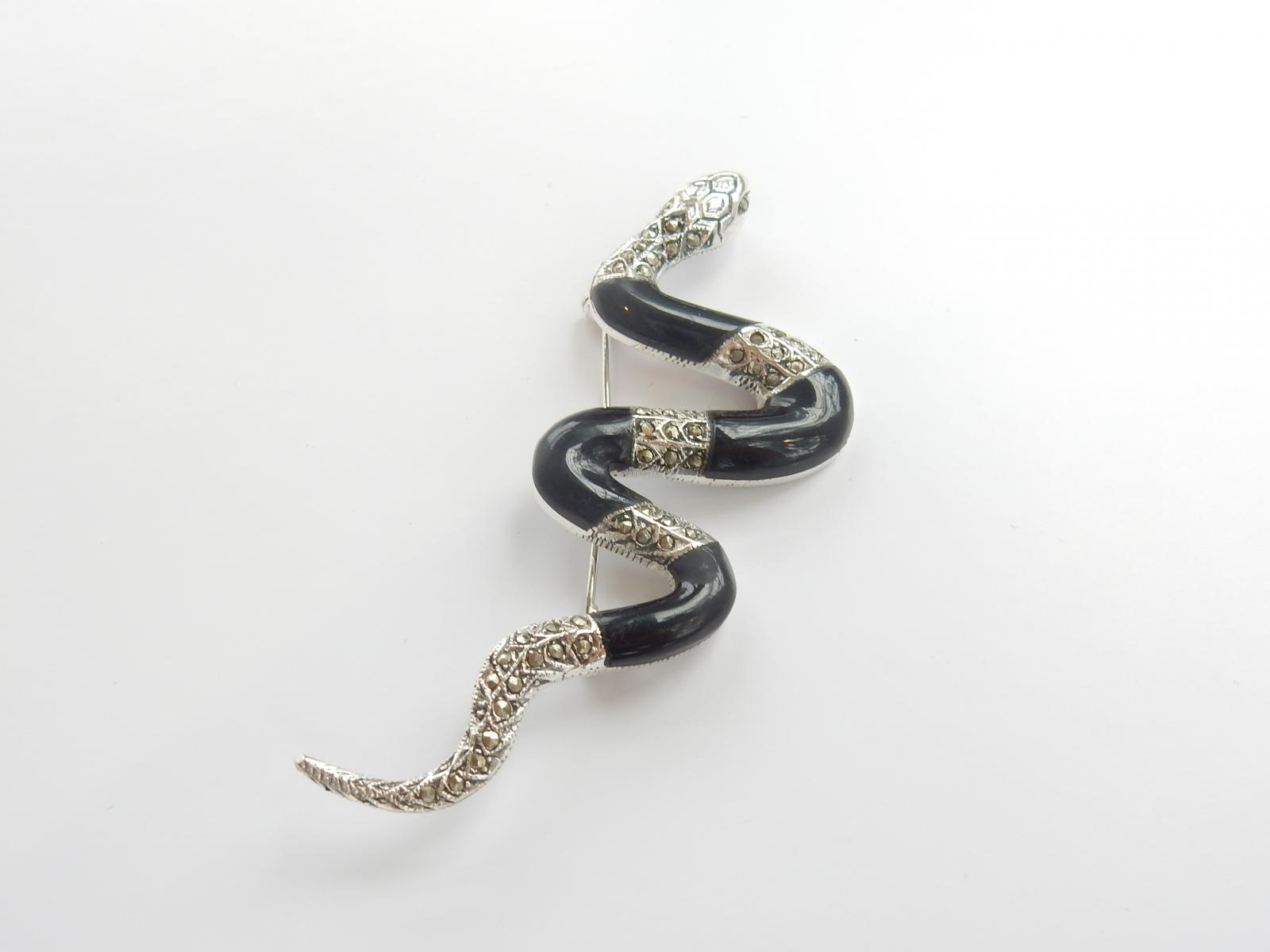 Photo of Silver & Black Onyx Snake Brooch