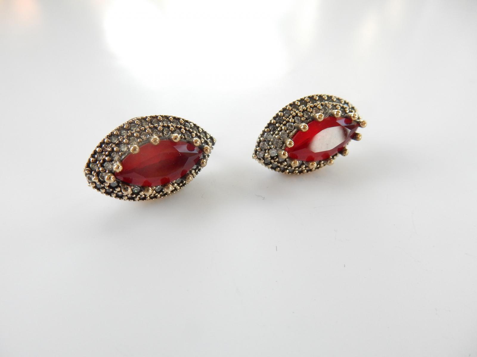 Photo of Sterling Silver Red Cubic Zirconia Earrings