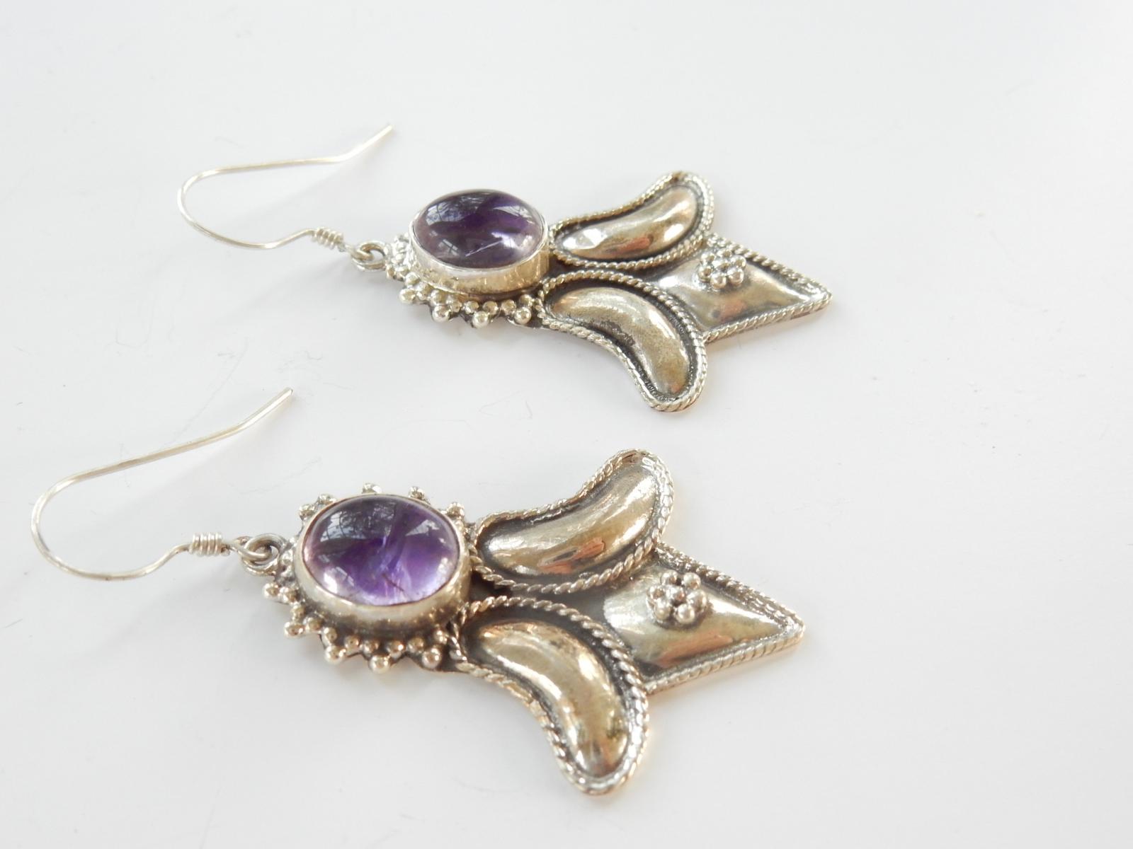 Photo of Vintage Silver & Amethsyt Earrings