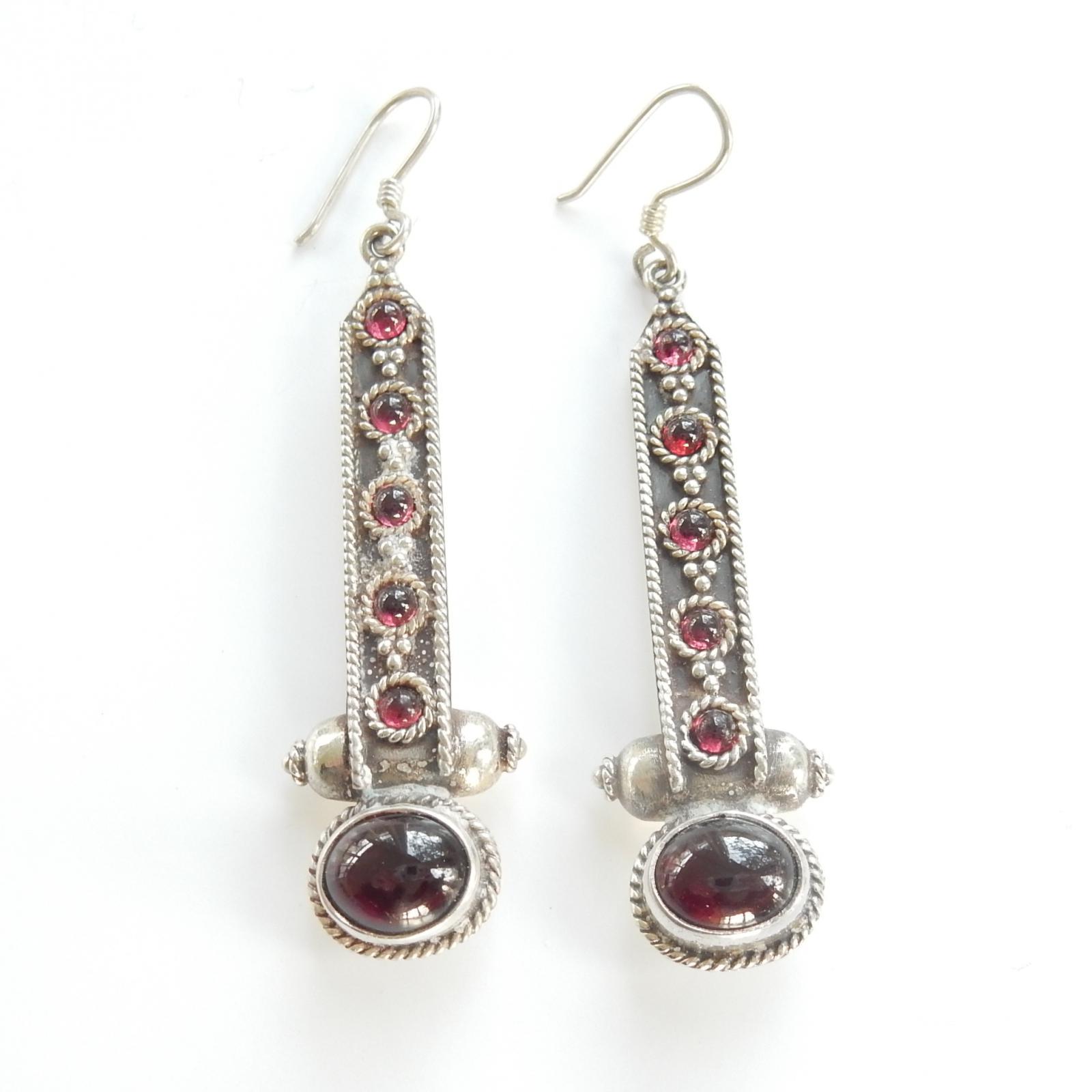 Photo of Vintage Solid Silver Garnet Stone Earrings